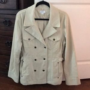 Ann Taylor LOFT Off-white pea coat style jacket.